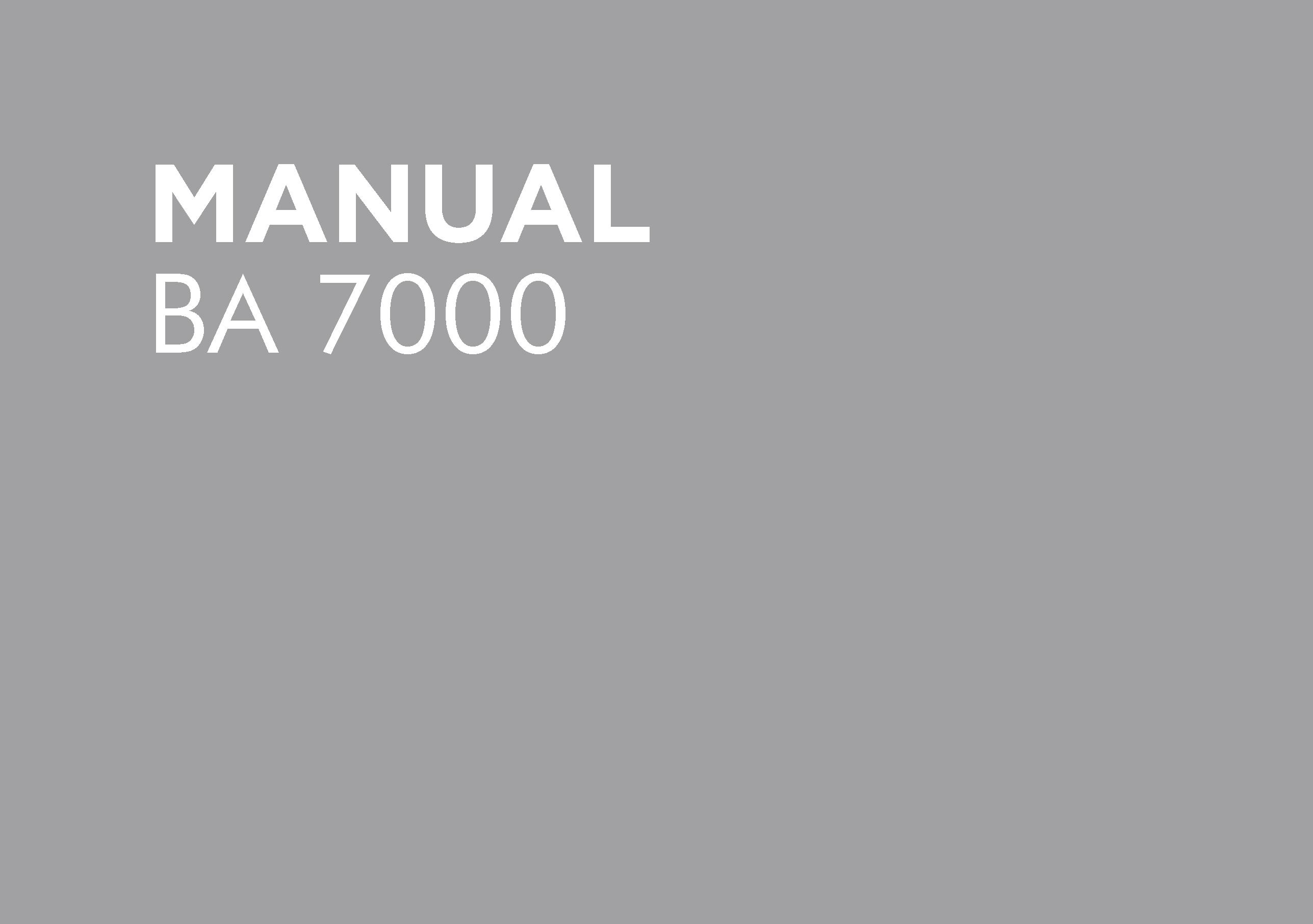 BA 7000 Operators Manual