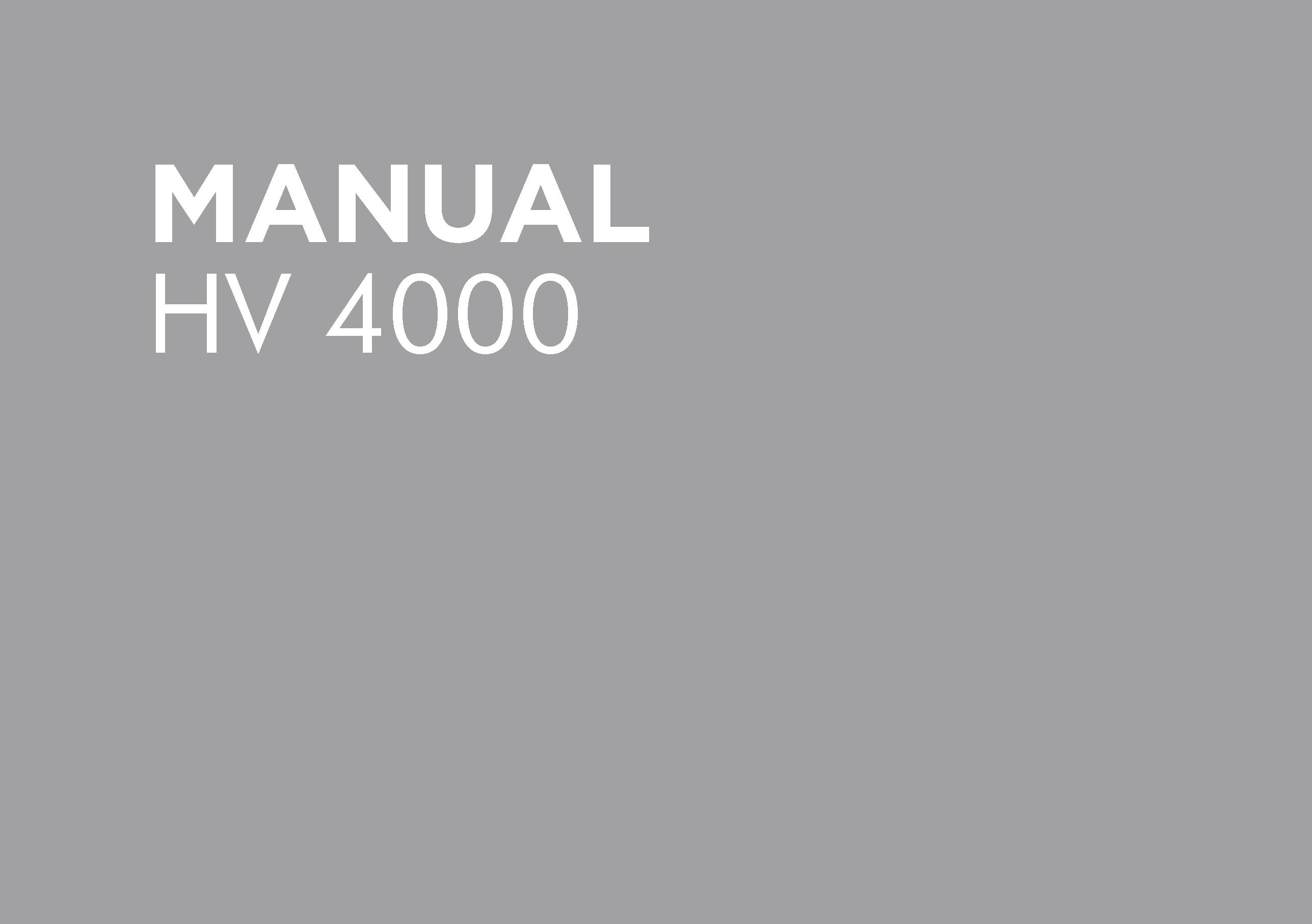HV4000 Operators Manual