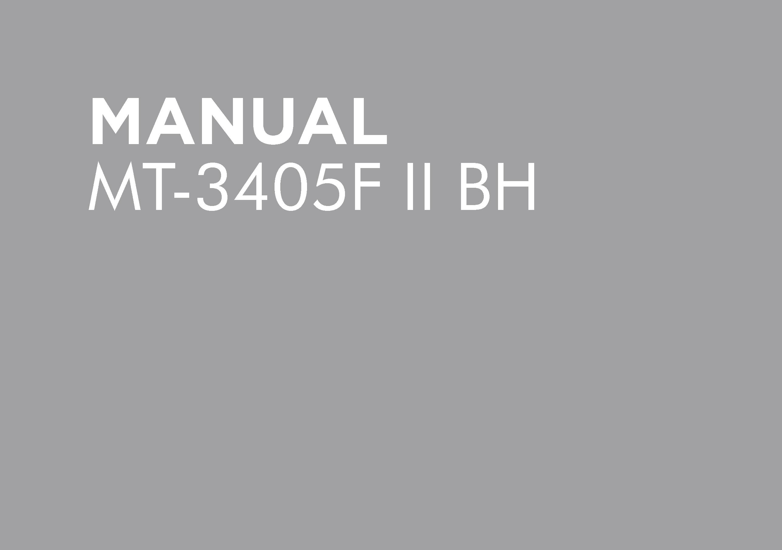 MT-3405F II BH Operators Manual